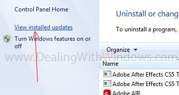 View installed Updates